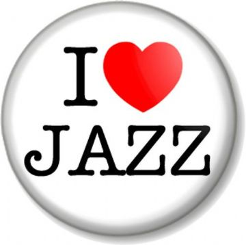 I Love / Heart JAZZ Pinback Button Badge Music Style Band Piano Blues Soul